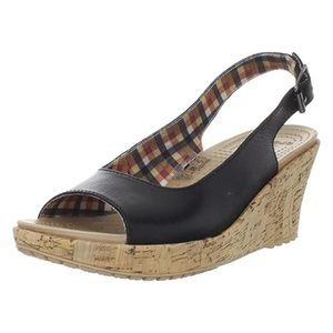 Crocs A-Leigh Leather Slingback Wedge Sandals